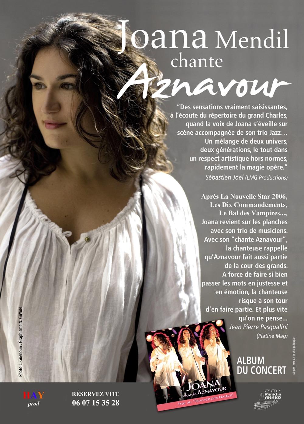 Flyer Joana Mendil Chante Aznavour